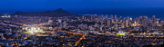 Dark Night Rises Posters - Waikiki cityscape and Diamond Head dusk panorama  Poster by Ken Brown