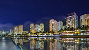 Seawall Prints - Waikiki cityscape at night  Print by Tin Lung Chao