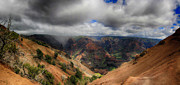 Waimea Valley Prints - Waimea Canyon Lookout Panorama Print by Douglas Barnard