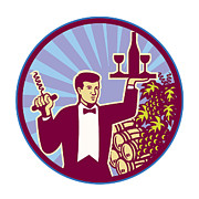 Barrel Digital Art - Waiter Serving Wine Glass Bottle Retro by Aloysius Patrimonio