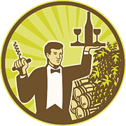 Wine-bottle Digital Art - Waiter Serving Wine Grapes Barrel Retro by Aloysius Patrimonio