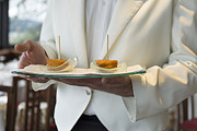 Waiter Metal Prints - Waiter with dessert Metal Print by Mats Silvan