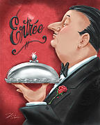 Waiter Metal Prints - Waiter with Entree  Metal Print by Shari Warren