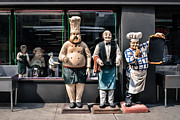Industrial Photos - Waiters and Chefs - Food Service Industry Statues by Gary Heller