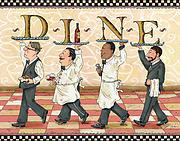 People Mixed Media Prints - Waiters DINE Print by Shari Warren
