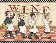 People Mixed Media Prints - Waiters WINE Print by Shari Warren