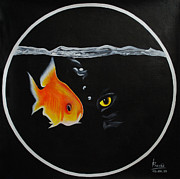 Golden Fish Painting Posters - Waiting 4 a chance Poster by Pravas Chandra