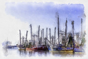 Boats At Dock Digital Art Prints - Waiting at Dock Print by Barry Jones