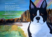 Boston Terrier Art Paintings - Waiting At The Bridge Poem by Maria Urso - Artist and Photographer