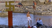 Russell Smidt Metal Prints - Waiting at the river Ganges Metal Print by Russell Smidt