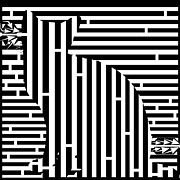 Op Art Drawings Posters - Waiting Cat Maze Poster by Yonatan Frimer Maze Artist