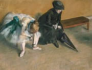 Ballerina Art Paintings - Waiting circa by Edgar Degas