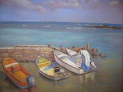 Boats Pastels Prints - Waiting Print by Debra Campbell