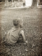 Little Boy Prints - Waiting For A Playmate Print by Ester  Rogers