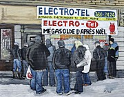 Wellington Street Paintings - Waiting for a Sale in Verdun by Reb Frost