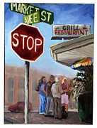 Stop Sign Painting Framed Prints - Waiting for a table Framed Print by Susan Richardson