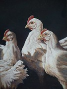 Chicken Pastels - Waiting for Breakfast by Debbie Patrick