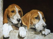 Foxhound Framed Prints - Waiting For Cubbing Framed Print by Anita Baarns