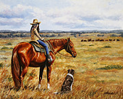 Cowgirl Paintings - Waiting for Dad by Crista Forest