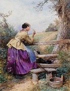 Waiting For Master Prints - Waiting For Father Print by Forest Myles Birket
