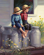 Overalls Painting Posters - Waiting for Mama Poster by Laurie Hein