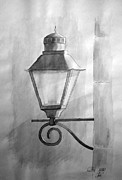 Vintage Lamp Drawings - Waiting for night by Eleonora Perlic