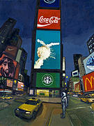 Times Square Painting Prints - Waiting For Ostoj Print by Scott Listfield
