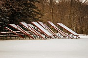 Winter Scene Prints - Waiting for Summer - Picnic Tables Print by Mary Machare