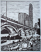 Linocut Drawings Originals - Waiting for the Bats by William Cauthern