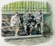 Elderly People Paintings - Waiting for the bus by John Walsh