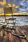 Park Dock Prints - Waiting for the Captain Print by Debra and Dave Vanderlaan
