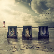 Beach Chairs Prints - Waiting For The Flood Print by Joana Kruse
