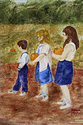Pumpkins Paintings - Waiting for the Hay Wagon  by William  Clark