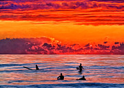 Surf Silhouette Framed Prints - Waiting for the Next Set Framed Print by Michael Pickett