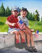 Patriotic Paintings - Waiting for the Parade by Lori Brackett