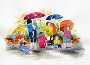 Raining Paintings - Waiting For The Parade by Pat Katz