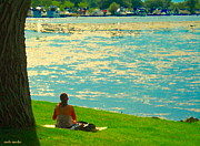 Sunday Picnic Paintings - Waiting  For The Sailboats To Stop By Sundays On Lachine Canal Montreal Summer Scenes Carole Spandau by Carole Spandau