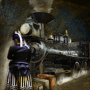 American West Digital Art Prints - Waiting for the Train - Steampunk Print by Jeff Burgess