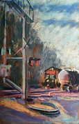Locomotive Pastels Prints - Waiting for the Westbound Print by Tim  Swagerle