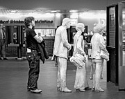 New York Photos - Waiting in line at Grand Central Terminal 1 - Black and White by Gary Heller