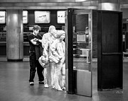 Terminal Photos - Waiting in line at Grand Central Terminal 2 - Black and White by Gary Heller