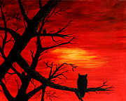 Bird Of Prey Art Paintings - Waiting on Sundown by Barbara Griffin