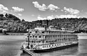 Riverboats Framed Prints - Waiting On The Levee BW Framed Print by Mel Steinhauer