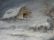 Winter Storm Painting Prints - Waiting out the Storm Print by Mia DeLode