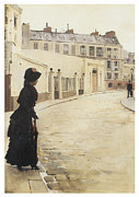 Woman In A Dress Metal Prints - Waiting Paris Rue De Chanteaubriand Metal Print by Jean Beraud