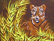 Art In Nature Tapestries - Textiles - Waiting Tiger by Kay Shaffer