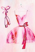Dancing Girl Drawings Prints - Waiting to Dance Print by Anne Costello