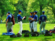Baseball Uniform Posters - Waiting to Go to Bat Poster by Susan Savad