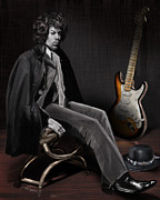 American Singer Paintings - Waiting to Play - The  Jimi Hendrix Series by Reggie Duffie
