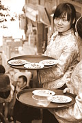 Waitress Metal Prints - Waiting Waitresses Metal Print by Valentino Visentini